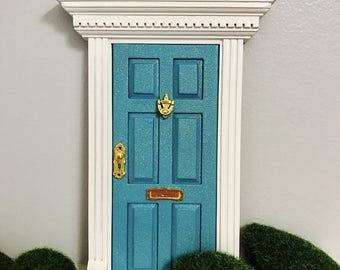 Fairy Door Magical Teal glitter