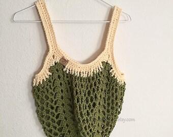 Boho Market Bag~Olive Green Crochet Tote Bag~Reusable Shopping Bag~Beach Bag~Market Tote~Crocheted Grocery Bag~green~cream