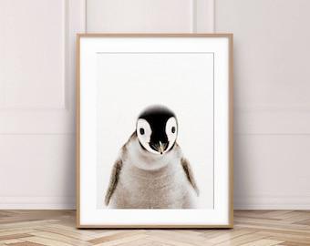 Penguin Print, Baby Penguin Art, Antarctica Animal, Cute Baby Animals, Modern Wall Art, Nursery Decor, Kids Room Wall Prints, Printable Art