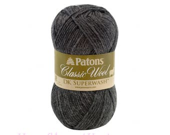 DARK GREY HEATHER Dk Superwash Yarn. Grey Patons Classic Wool Dk SuperWash. Class 3 Light Worsted, 100% Pure Wool. Grey Mix Color 1.75oz 50g