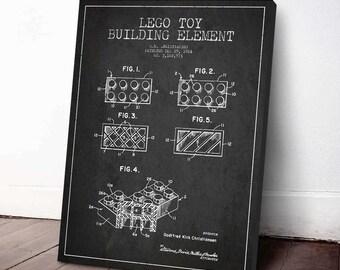 1964 Lego Toy Patent Poster, Lego Poster, Lego Print, Lego Decor, Canvas Print, Wall Art, Home Decor, Gift Idea, GT14C