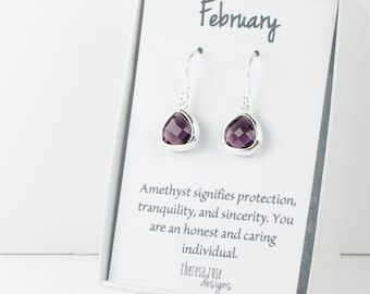 Tiny February Birthstone Silver Earrings, Amethyst Silver Earrings, Purple Silver Earrings, February Birthday Gift, Gifts Under 15
