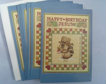 Happy Birthday Jesus! Vintage Christmas Cards 1987 Set of 7. Religious Scripture Cards, Holiday Cards with Raccoon.