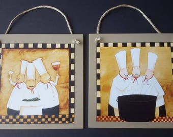 Kitchen COOK Chef Wall Plaque Decor Art Hang Set of 2