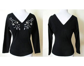 "Lovely 1950's Designer  Beaded Black Wool Blouse with Dramatic Plunging Neckline & Dolman ""Bat"" Sleeves Size Small"