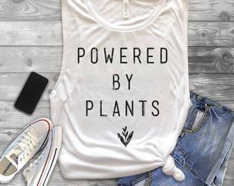 Powered by Plants Muscle Tank Top - Vegan Tank Top - Vegetarian Shirt - Vegan Shirt - Vegan Muscle Tank Top - Powered by Plants