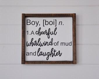 Definition of Boy Wood Sign. Baby Boy Shower. Boy room decor. Baby boy decor. Nursery wall art. Nursery decor. Farmhouse wood sign