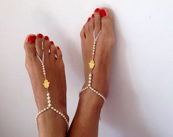 barefoot Sandals, ivory pearl, wedding accessory,  Beach wedding, Bridal Sandals , Bridal Jewelry , READY TO SHIP