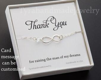 Mother infinity love bracelet,Grandma,Mother jewelry,Mother of groom,Custom birthstone,Thank you card,greeting