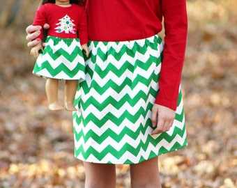 Size 12 SAMPLE SALE - Matching Girl and Doll Clothes Fits American Girl Doll - Christmas Chevron Skirts in Green