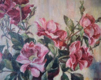 Old vintage oil picture rose picture still Life wilds painting roses oil painting antique boudoir Bohemian French shabby