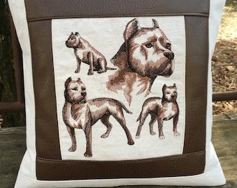 Boston Terrier Pillow (Brown or Grey Border)