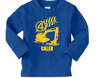Construction Birthday Shirt - long sleeve tshirt - any age and name - pick your colors! Truck Party