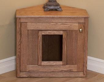 Hideaway Litter Box Cat Litter Furniture~ Oak Wood Hidden Litter Box~ Corner litter Box