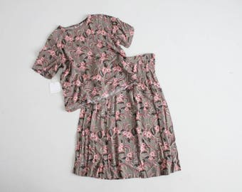 top and skirt set   two piece outfit   floral blouse and skirt set