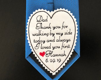 Father of the Bride Gift from Bride, Personalized Embroidered  Heart Patch, Thank you for walking by my side, iron-on, sew on TB15A