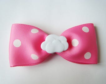 Pink hair clip with polka dots and cloud ♥ ♥