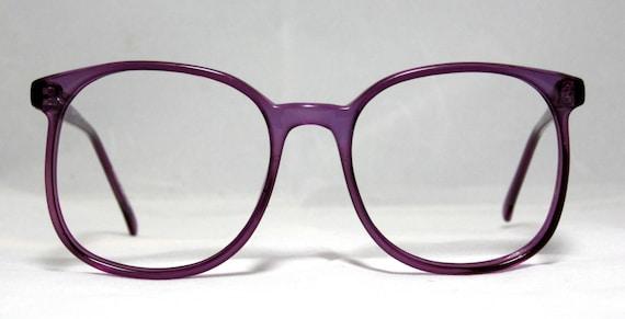 Vintage 80s Large Square Horn Rim Eyeglass Frames. Amethyst
