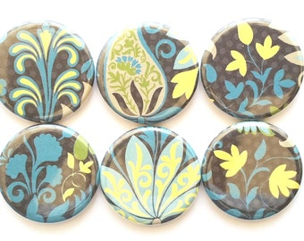 Paisley Magnets, Refrigerator Magnets, Flower Paisley, Fridge Magnets, Bright Teal Yellow Paisley, Magnets, Home Decor Paisley, Set of 6