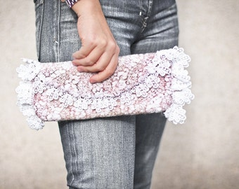 Clutch Vintage French Lace Felted Bag Pastel Blush Tea Rose Pink neutral OOAK wedding bridal fashion