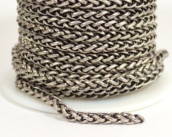 4mm Wheat Chain - Antique Silver - CH121 - Choose Your Length