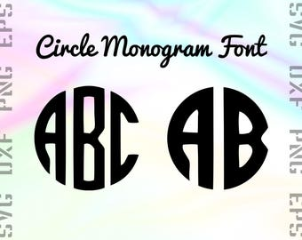 Circle Monogram SVG Font Bundle - Monogram Font SVG - Monogram Font DXF - Circle Font Svg - Monogram Font Cricut  Png - Monogram Cut Files