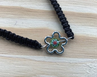 Bracelet of Adjustable Black Waxed Cotton Cord and Alloy Flower with Millefiori Glass Bead
