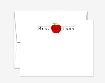 Personalized Stationery - Apple for Teacher - Flat Note Cards