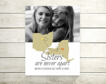 Sisters Long Distance Map   Two States Map   Going Away Gift for BFF   Birthday Gift   Personalized Map   Mothers Day Gift - 52377