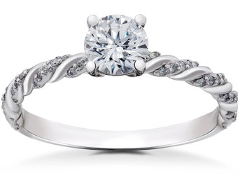 Diamond Engagement Ring 5/8 ct Lab Grown Round Eco Friendly Diamond Mia Engagement Ring 14k White Gold