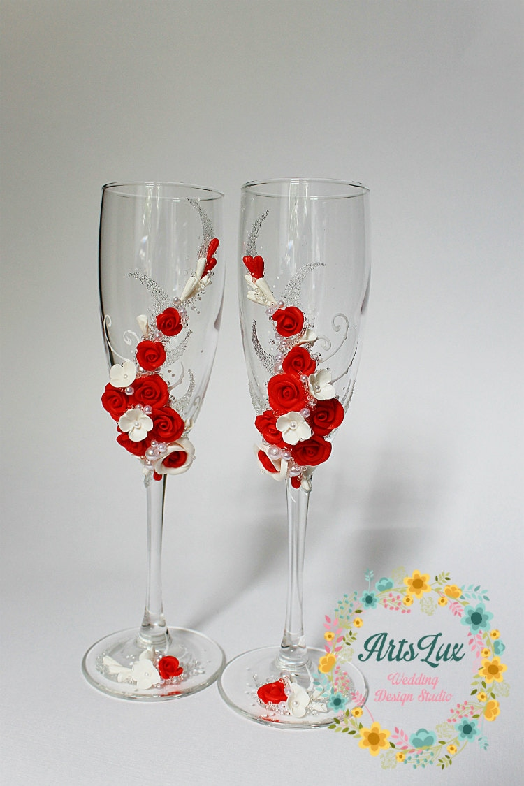 Wedding champagne glasses with beautiful roses handmade