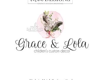 Feather Logo - Boho Watercolor Logo, Rustic Boutique Logo, Custom Logo, Boutique Watercolor Logo, Premade Logo, Custom Logo, Boho Logo