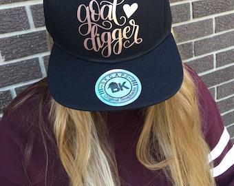 Goal Digger Custom Baseball Hat-Rose Gold Text-New