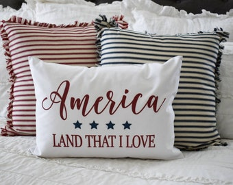 Patriotic pillow cover, Americana pillow cover, Memorial Day, Fourth of July, Summer pillow, USA Pillow, 14x20