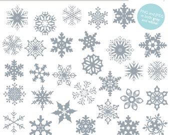 Winter clipart, Snowflakes Clip Art and Photoshop Brush Set (Royalty Free)