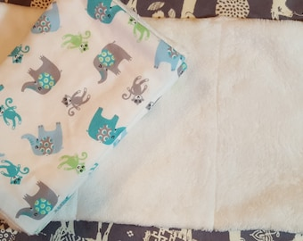 Burp Cloths (set of 3) Monkey's & Elephant's ~ Shipping Included