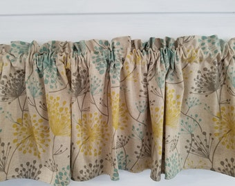 Premiere Prints Collins Laken Irish Daisy Yellow Light Blue Gray Tan 54 Valance Curtain