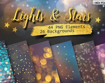 Lights Clipart, Wedding Lights, Party Lights, stars clip art, starry night, starry sky,Christmas Overlays