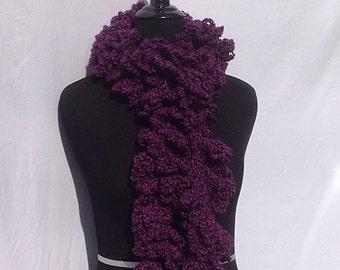 Curly Boa Scarf in Aubergine Purple