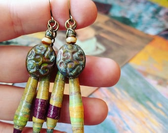 Liz-Ha Color Junkie Monoprint Scraps Paper Bead Cluster Earrings, Liz Carlson paper