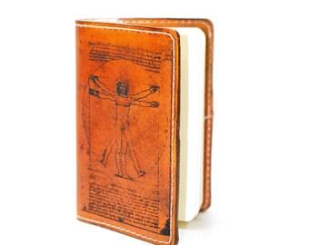 Vitruvian Man Leather Journal - Da Vinci Artist Notebook - Refillable Laser Engraved  Eco Friendly Moleskine Pocketbook Fieldnotes