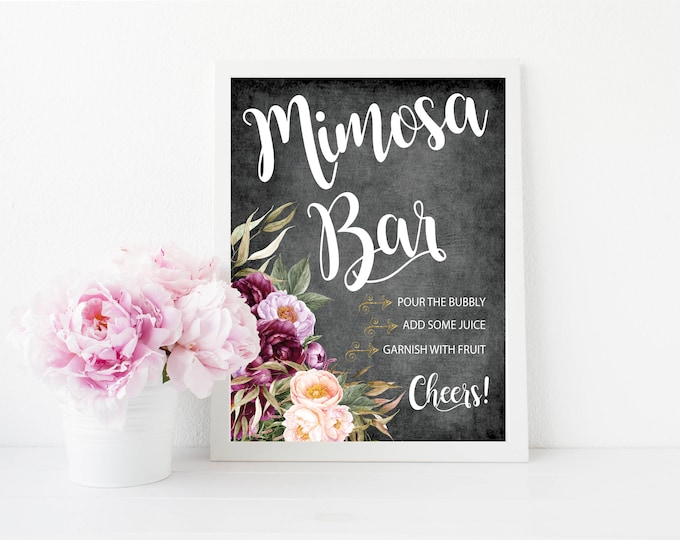 "Mimosa Bar Sign 8x10"" // Momosa Bar // Mom-mosa // Printed //Mimosas // Floral // Burgundy // Chalk // Made to Match our FLORENCE COLLECTION"