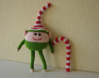 Elf and cane | crochet pattern funny elf with candy cane | crochet pattern Christmas | pattern winter | Santa's helper pattern | candy cane