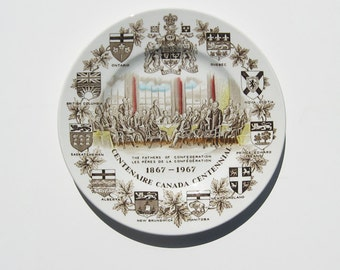 Vintage Canada Centennial Collectible Transferware Plate / Ironstone Plate Made in England 1967 / Historical / Nostalgia / Canadian History