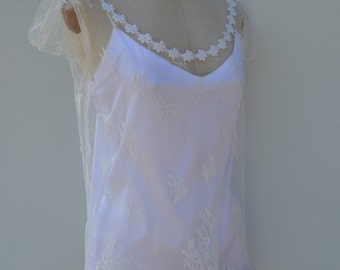 Bridal lace Nightie, tunic lace ecru wedding ecru wedding lace Nightie, ecru bridal babydoll Halter neck