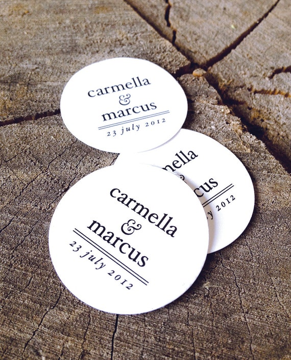 Simple modern wedding favor tags round thank you tags