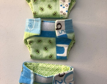 Blue and green reusable flannel doll diapers