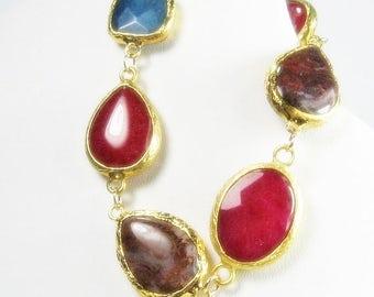 Ruby Red Jade Agate Gold Dipped Gemstone Bracelet