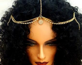 Gold Hair Chain Gold Rhinestone Crystal Head chain Hair