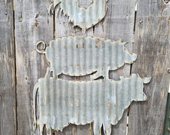 Cow Pig Chicken Sign/ Wall Hanging/Kitchen/Diner/Cafe/ Corrugated Metal